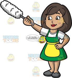 A Woman Dusting Items In Her House. A woman with dark brown hair and eyes, wearing a green dress, with a white t-shirt underneath, gray shoes, and a yellow apron, holding onto a duster with her hand and reaching up to dust something high up