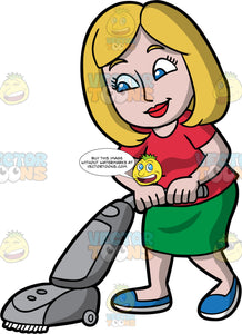 A Woman Vacuuming The Carpet. A woman with dirty blonde hair and blue eyes, wearing a green skirt, a red shirt, and blue shoes, smiles as she vacuums the floor with a gray vacuum cleaner