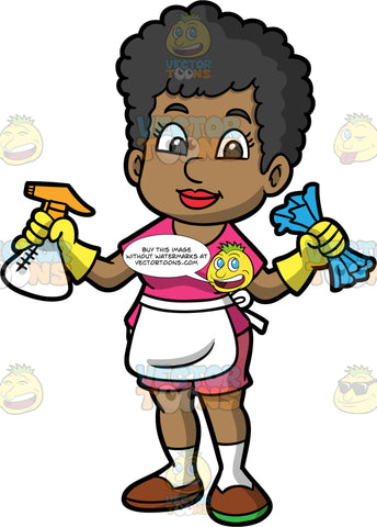 A Woman Getting Ready To Clean The House. A black woman, wearing pink shorts, a pink shirt, white socks, brown shoes, and yellow rubber gloves, standing and holding a blue cloth in one hand and a spray bottle in the other