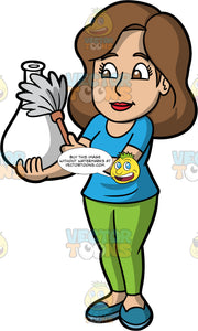 A Woman Dusting A Vase. A woman with brown hair and eyes, wearing green pants, a blue shirt, and blue shoes, holds a white vase in one hand and gently dusts it with the feather duster in her other hand
