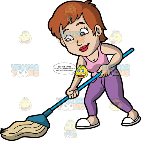 A Woman Mopping Up A Spill On The Floor. A woman with short brown hair, wearing purple pants, a pink shirt, and white slippers, holding a mop in her hands and cleaning the floor with it