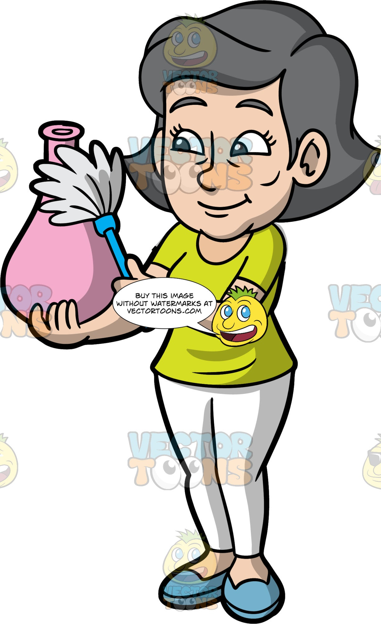 Mary Dusting A Pink Vase. An older woman with gray hair, wearing white pants, a lime green shirt, and blue shoes, using a feather duster to dust the pink vase in her hand
