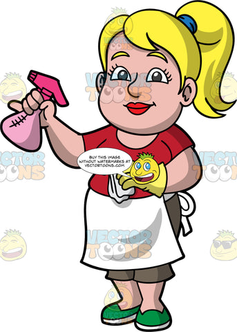 Pat Getting Ready To Clean. A blonde woman wearing brown capri pants, a red t-shirt, green shoes, and a white apron, holding a pink spray bottle in one hand, and a cloth in her other hand that has a yellow rubber glove on it