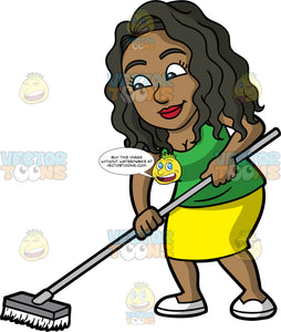 Maggie Sweeping The Floor. A black woman with long, wavy hair, wearing a yellow skirt, a green shirt, and white shoes, sweeping the floor with a broom