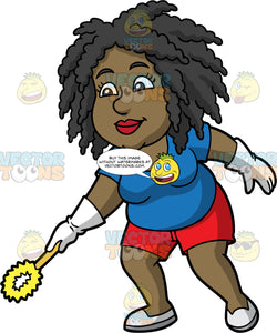 Lisa Using A Toilet Brush To Clean The Toilet. A black woman wearing red shorts, a blue shirt, white rubber gloves, and white shoes, holding a toilet brush in her hand to clean the toilet