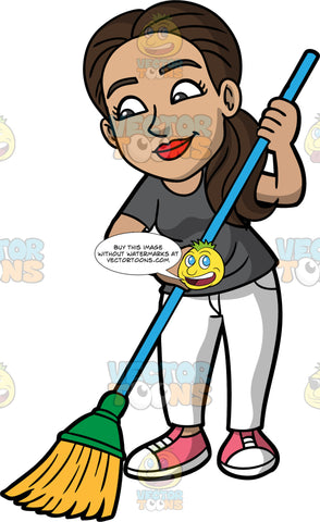 Isabella Sweeping The Floor. A Hispanic woman with dark brown hair, wearing white pants, a dark gray shirt, and pink sneakers, holding a broom in her hands and using it to sweep the floor