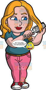 A woman brushing her hair with a round hairbrush. A chubby woman with blonde hair and blue eyes, wearing pink pants, a teal shirt, and red and white shoes, uses a white round hairbrush to brush her hair