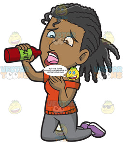 A Black Woman Drinking A Fatal Acid