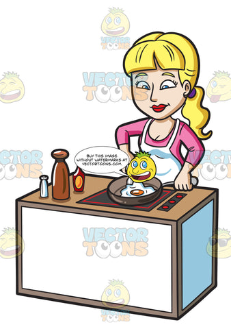 A Woman Cooking A Sunny Side Up Egg For Breakfast