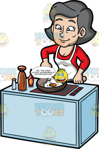 Mary Frying An Egg For Breakfast. A mature woman with gray hair and blue eyes, wearing a red shirt, and a white apron, standing behind a stove and using a spatula to flip the egg she is frying