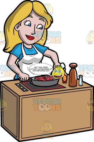 Stacey Adding Some Seasoning To The Steak She Is Cooking. A woman with dirty blonde hair and blue eyes, wearing a blue t-shirt, and a white apron, standing behind a stove and cooking a piece of steak in a frying pan