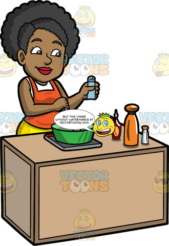 Jackie Stirring Soup In A Sauce Pan. A black woman wearing a white shirt under an orange apron, and yellow pants, standing behind a counter with a burner on it, and stirring some soup in a green pot
