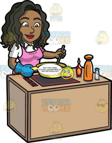 Maggie Stirring The Stew She Is Cooking. A black woman with long, wavy hair, wearing a white shirt, and a pink apron, standing behind a stove and stirring a brown stew that is cooking in a large yellow pot