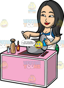 Connie Stirring Soup Cooking On The Stove . An Asian woman with long black hair, wearing a blue shirt, green pants, and a white apron, standing behind a pink counter with a stove top on it, and stirring soup cooking in a large metal pot