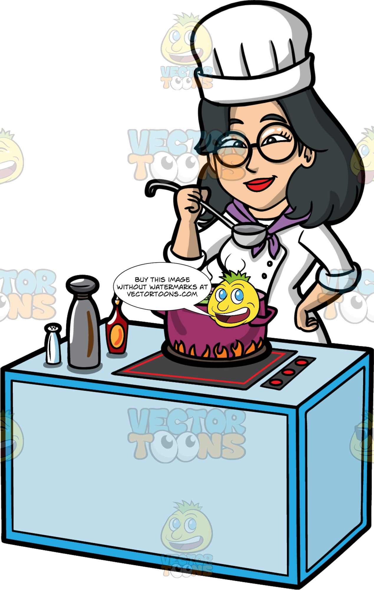 Lynn Tasting The Soup She Is Making. An Asian woman with black hair, wearing a white chef's hat and jacket, and round eye glasses, standing behind a stove and using a ladle to taste the soup cooking in a large pot on the stove