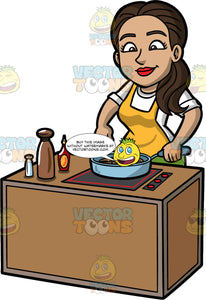Isabella Adding Seasoning To The Food She Is Cooking. A Hispanic woman with long brown hair, wearing a white shirt, and yellow apron, standing behind a stove and adding some salt to the food she is cooking in a frying pan