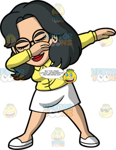 Lynn Dancing The Dab. An Asian woman wearing a white skirt, a yellow blouse, white shoes, and round eyeglasses, holding one hand up at her face and the other out to the side to do the dab