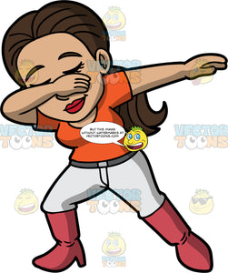 Isabella Doing The Dab. A Hispanic woman wearing light gray pants, an orange t-shirt, and knee high boots, holding one hand up at her face and the other out to the side as she dances the dab