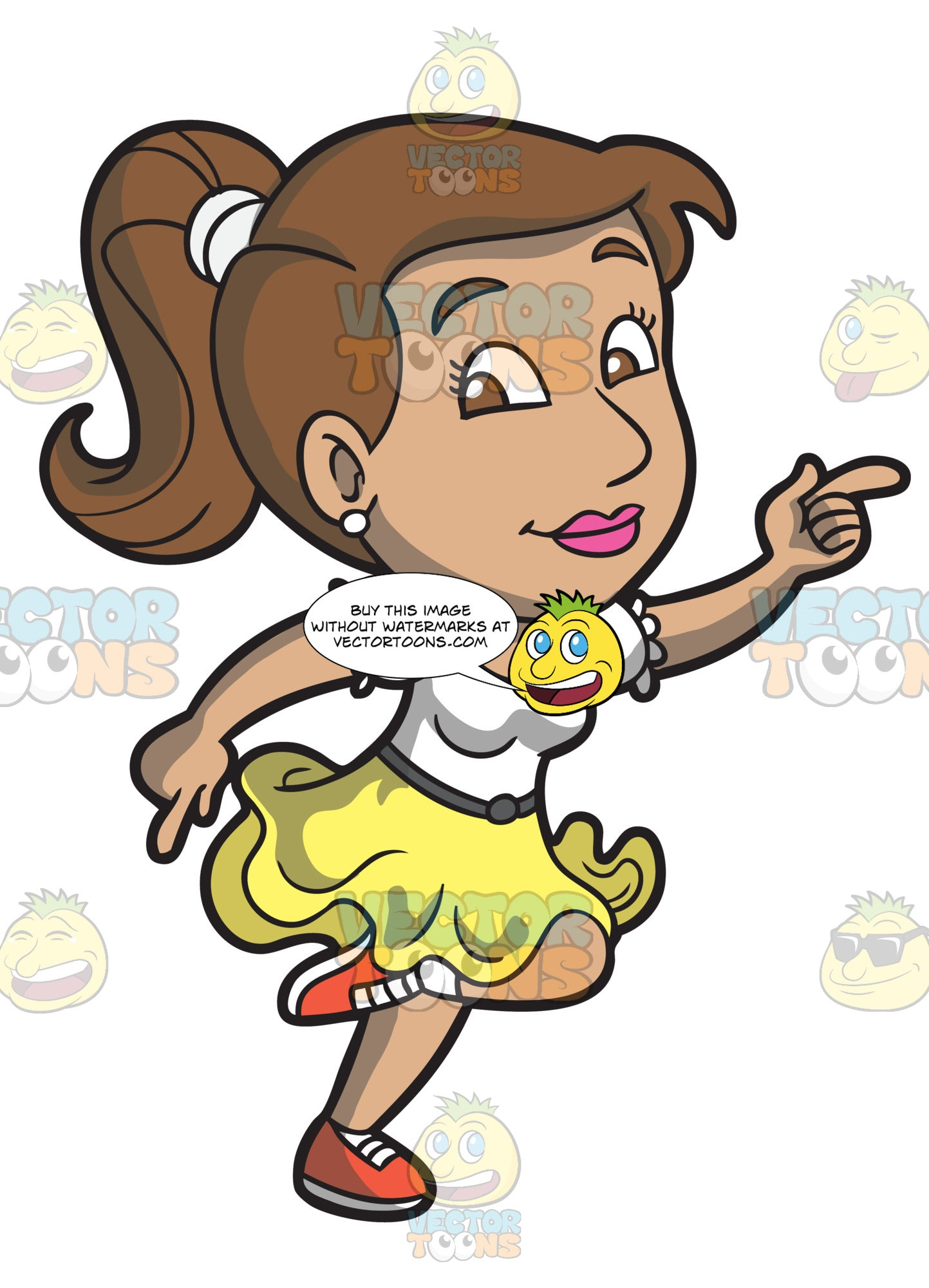 A Woman Enjoying A Happy Dance Clipart Cartoons By Vectortoons