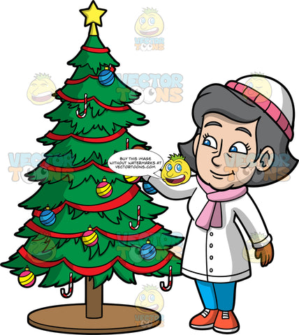 Mary Putting Decorations On A Christmas Tree. A mature woman wearing blue pants, a white coat, a pink scarf, brown gloves, orange shoes, and a white and pink hat, putting decorative ornaments on the Christmas tree