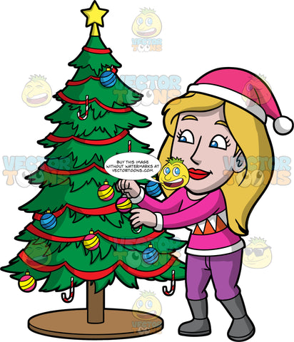 Stacey Placing Ornaments On A Christmas Tree. A woman with dark blonde hair, wearing purple pants, a pink and white shirt, gray boots, and a pink Santa hat, putting ornaments on a Christmas tree