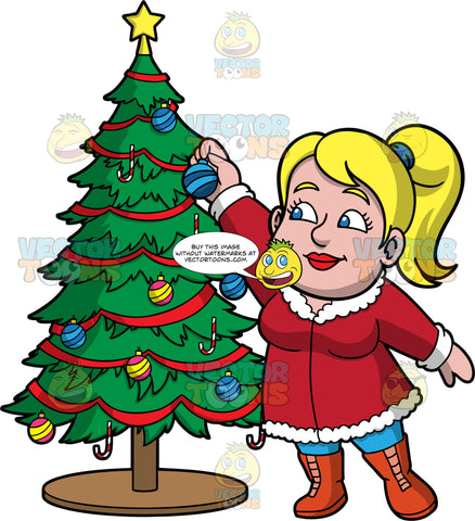 Pat Decorating A Christmas Tree. A blonde woman wearing a long red coat, blue pants, and orange boots, reaching up to put a blue ornament high up on a Christmas tree