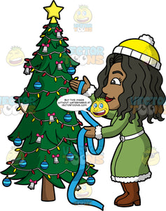 Maggy Putting Ribbon On A Christmas Tree. A black woman wearing a long green coat, brown boots, and a yellow and white hat, wrapping blue ribbon around a Christmas tree