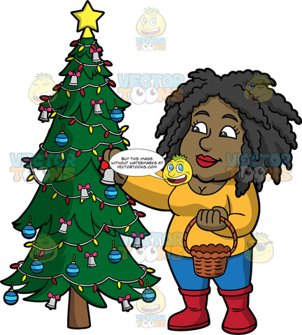 Lisa Putting Silver Bells On A Christmas Tree. A black woman wearing blue pants, a yellow shirt, and red boots, holding a basket and putting small silver bells on a Christmas tree