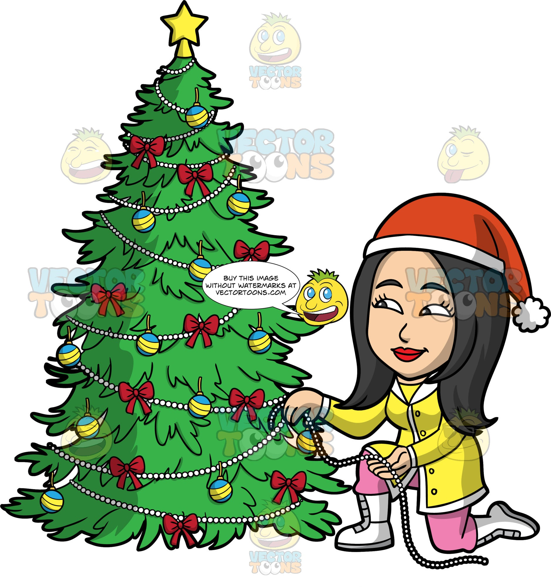 Connie Trimming A Christmas Tree. An Asian woman wearing pink pants, a yellow coat, white boots, and a Santa hat, kneeling down and wrapping decorative pearls around a Christmas tree