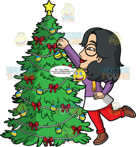 Lynn Putting Ornaments On A Christmas Tree. An Asian woman wearing red pants, a purple and white shirt, brown shoes, and round eyeglasses, reaching up to put an ornament on the Christmas tree