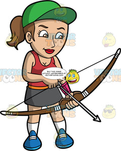 Woman practicing archery. Light skinned woman with brown hair pulled back in a ponytail and brown eyes holding and archers bow and arrow. Wearing blue shoes, white socks, black skirt, green hat and red top.