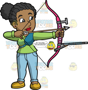 Black ( African American) woman holding a bow and arrow. A dark skinned woman holding and archers bow and arrow about to fire at her target. Wearing yellow shoes, blue jeans and a green shirt. She has black hair pulled back in a ponytail, dark eyes and red lipstick.