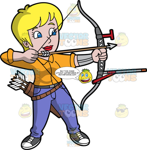 Blonde woman practicing archery. Light skinned woman with blond hair and blue eyes holding an archers Bow and arrow. Wearing black running shoes, purple pants and orange shirt. Pointing arrow at target while focused on target. She's holding a quiver of arrows on a belt strap.