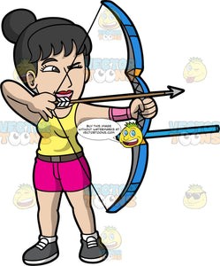 Asian woman practicing archery. Light skinned Asian woman with black hair and dark eyes holding a bow and arrow pointing at target. Wearing dark shoes, pink shorts, black belt and yellow shirt