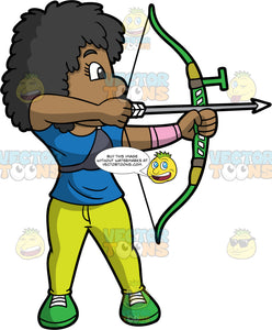Black woman practicing archery. Black ( African-American) woman holding a bow and arrow pointing at a target. Wearing green shoes, yellow pants, and blue shirt. She has shoulderlength curly black hair and dark eyes.