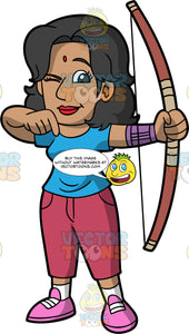 Indian woman holding and archers Bow practicing her stance. Dark skinned Indian woman with Vermillion mark holding an archer's bow in her left hand practicing her stance. Wearing pink shoes, white socks, red Capri pants, and blue shirt. She has one eye closed and the other eye focused on her practice target