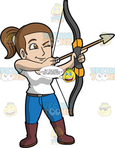 Light skinned woman holding a bow and arrow. Light skinned woman holding a bow and arrow pointing at a target with one eye closed and the other eye focused on target. Wearing brown boots, blue jeans and white shirt. She has brown hair pulled back in a ponytail and brown eyes.