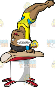 A Black Woman Doing A Handstand Over A Vault. A black woman with curly hair, wearing a yellow with blue leotard, does a handstand on top of a beige, red and white vault