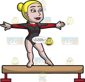 A Confident Woman Doing A Balance Beam Routine. A woman with sleek blonde hair tied back in a bun, wearing a black and red leotard, looking confident while doing her routine on top of a beige and red balance beam