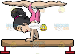 A Female Gymnast Doing A Balance Beam Routine. A woman with black hair tied in a ponytail, wearing a pink with white sleeveless leotard, does a handstand as she spreads her legs sideways to do an impressive balance beam routine