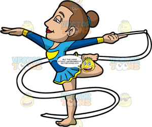 A Woman Starting Her Rhythmic Gymnastics Routine. A woman with brown hair tied up in a bun, wearing a blue with yellow gymnastics dress, curls her left leg back to balance with her right leg, as she raises her arms sideways and holds a white wand with a ribbon in her left hand
