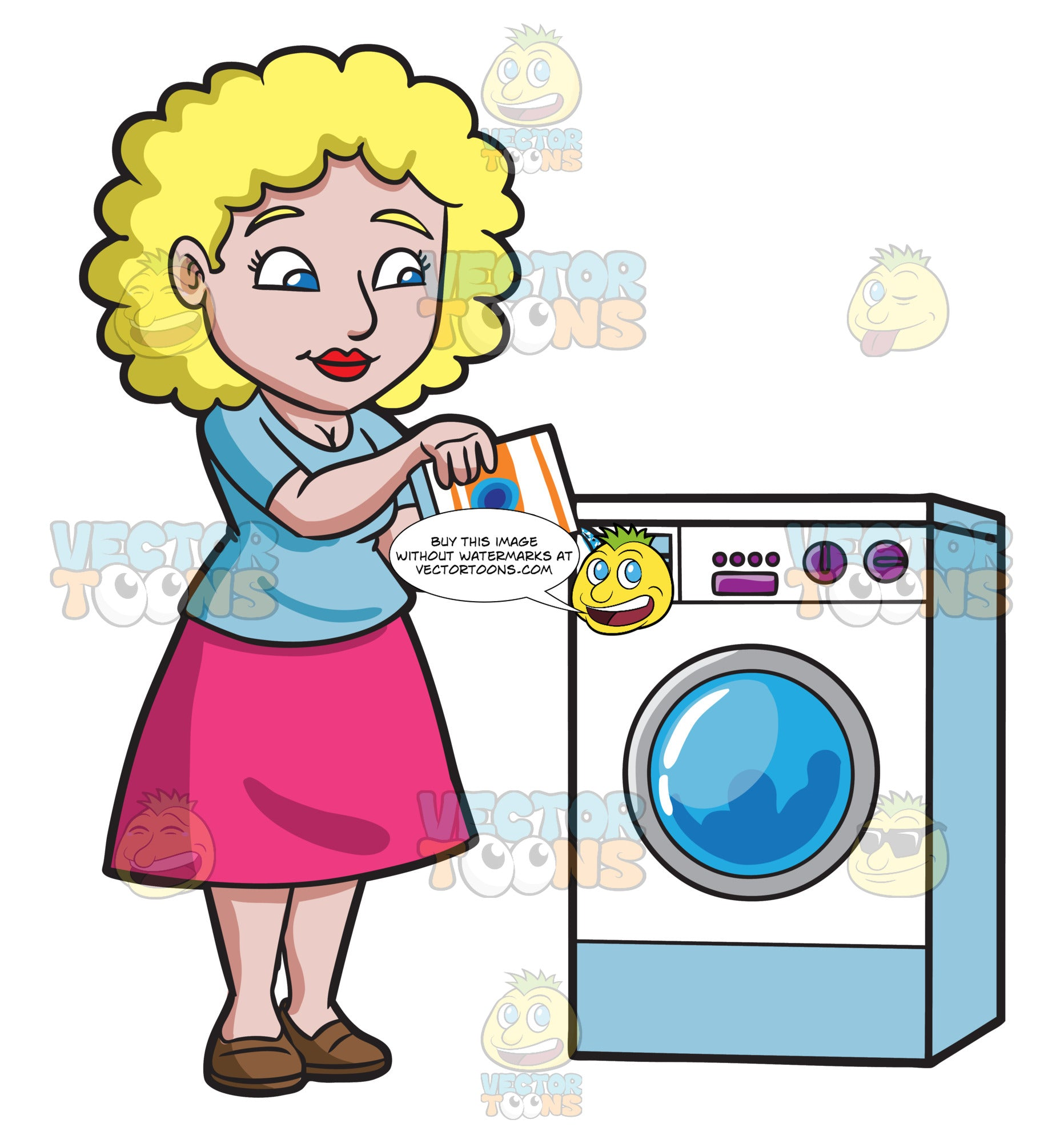A Woman Placing Some Detergent In The Washer Clipart