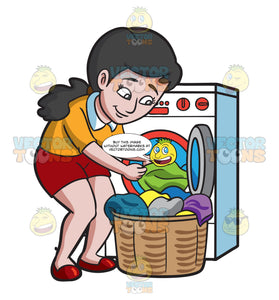 A Woman Taking Out Her Washed Clothes