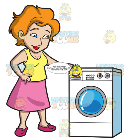 A Woman Waits For Her Laundry To Finish