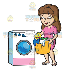A Woman Waiting For Her Load Of Laundry To Finish