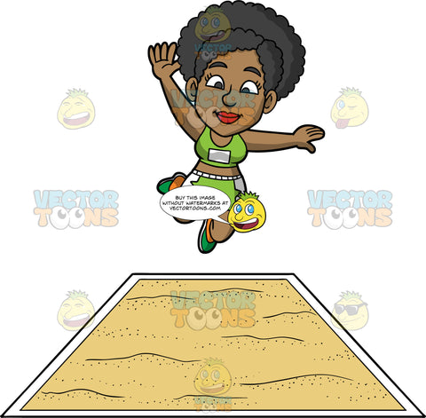 Jackie Jumping During A Long Jump Contest. A black woman wearing green with white shorts, a green tank top, and green running shoes, leaps and prepares to land in a pit of sand during a long jump event