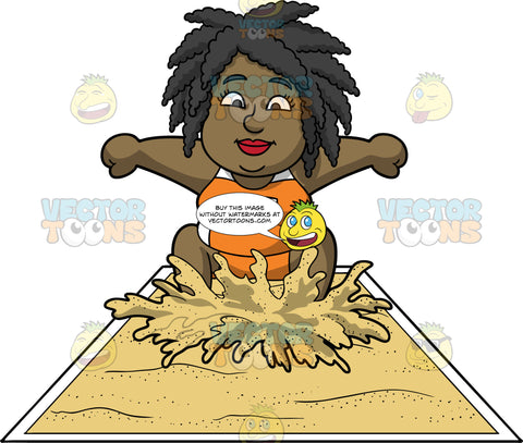 Lisa Landing In A Long Jump Pit. A black woman wearing orange shorts, an orange and white tank top, lands in a pit full of sand during a long jump competition