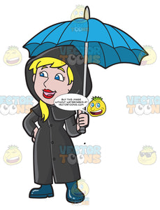 A Woman Calling Out To Somebody In The Rain