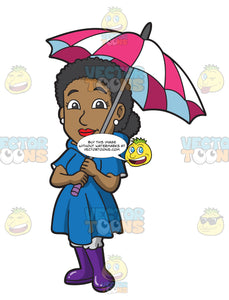 A Woman In Her Rain Coat And Umbrella