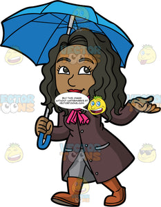 Maggie Going For A Walk On A Rainy Day. A black woman wearing gray pants, a raincoat, a pink scarf, and brown rain boots, walking underneath an open blue umbrella on a rainy day